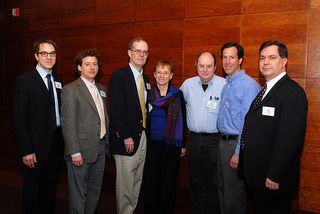 (l to r) Jason Kucsma, METRO; Roger Schonfeld, Ithaka; Evan Owens, Portico; Pat Aufderheide, American University; Cliff Lynch, Coalition for Networked Information; Dan Cohen, George Mason University; Tom Clareson, Lyrasis